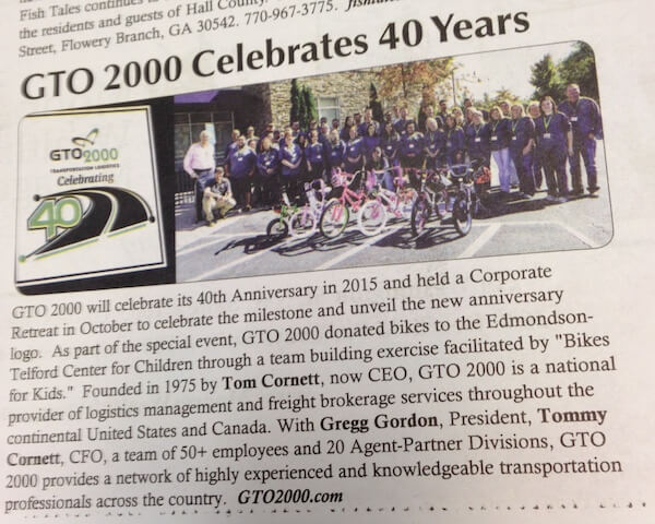 News Clipping of GTO 2000's 40th Anniversary Celebration