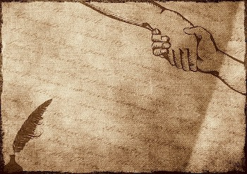 Drawing of a handshake, reflecting 63rd & Eliot's partnership strengths.